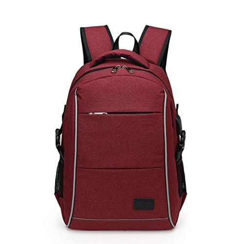 KONFA Teen Boys Girls USB External Charging Travel/School Backpack Shoulder Bags Laptop Bag (Wine) by KONFA