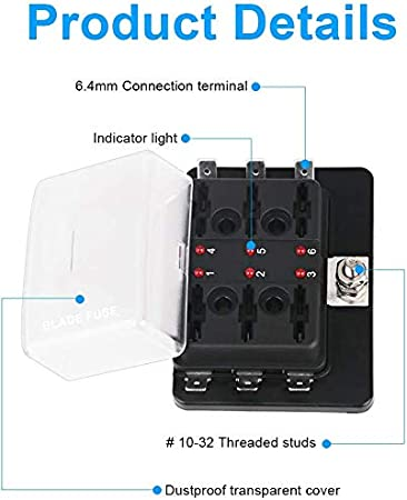6-Way w//Cover /& Fuse WATERWICH 6-Way Blade Fuse Box Standard Circuit Fuse Holder Box Block DC 12-32V with Waterproof Protection Cover For Car Boat Marine Trike Car Truck Vehicle SUV Yacht RV Ship