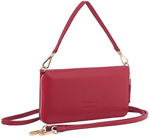 et sac rouge housse Pochette cuir bandoulière Nappa portable Smart à Wallet en Rouge sac StilGut Croco xYfO8zqnw