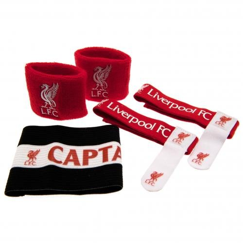 Liverpool FC Fußball-Sport-Set mit Armbinde und Schweißbändern, Motiv Mehrfarbig Hy-Pro International Ltd LI01806