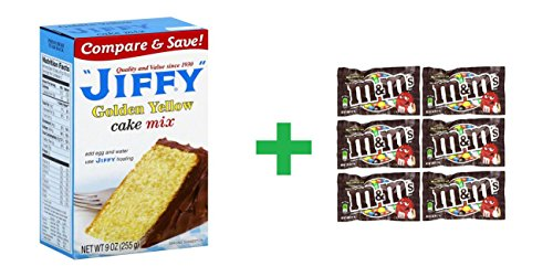 Jiffy Golden Yellow Cake Mix 9 OZ (Pack of 34) + (6 Pack of M&M Milk Chocolate 1.69oz) (Jiffy Yellow Cake Mix compare prices)
