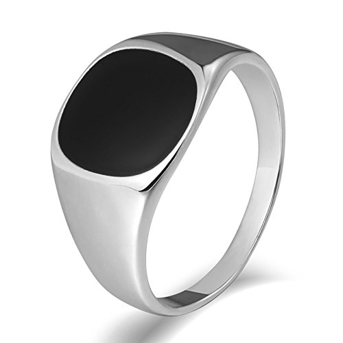 - Aooaz Antique-Reproduction-Style Oval Gemstone Signet Rings Silver US Size 7 Men's Stainless Steel Ring