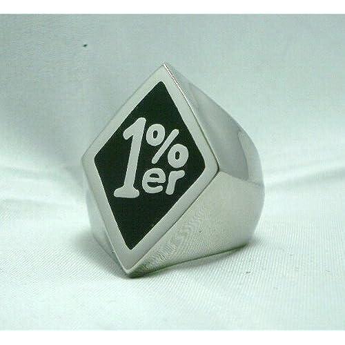 1%er Outlaw Biker One Percenter Ring Black Enamel Sz 9