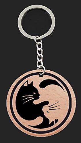 Llavero yin yang gatos