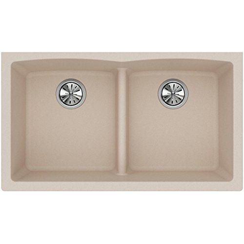 Bowl Kitchen Sink Equal (Elkay Quartz Classic ELGDULB3322PT0 Putty Equal Double Bowl Undermount Sink)
