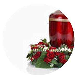 alfombrilla de ratón urna funeraria urna de metal rojo con la guirnalda - ronda - 20cm