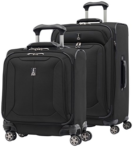 Travelpro Skypro Lite 2-Piece Expandable 8-Wheel Luggage Spinner Set: 25'' and 17'' Carry On Under Seat Bag (Black) by Travelpro