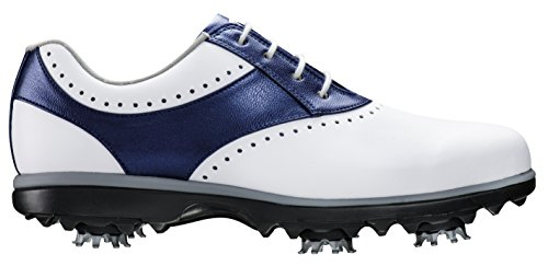 FootJoy Women's eMerge Spiked Golf Shoes, Close-out (7 B(M) US, White/Navy Linen 93900) by FootJoy