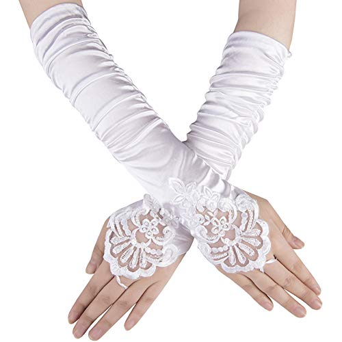 Xuhan 1920s Long Flapper Fingerless Evening Opera Satin Gloves for Women (White)
