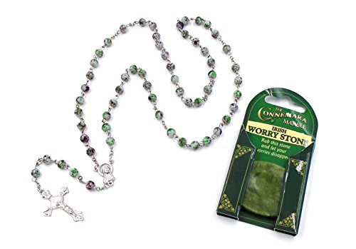 - Multi-Colored Rosary and Connemara Marble Worry Stone- Made In Ireland (Set of 2)
