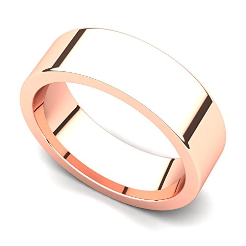 18k Rose Gold 6mm Classic Plain Flat Wedding Band Ring, 10.5