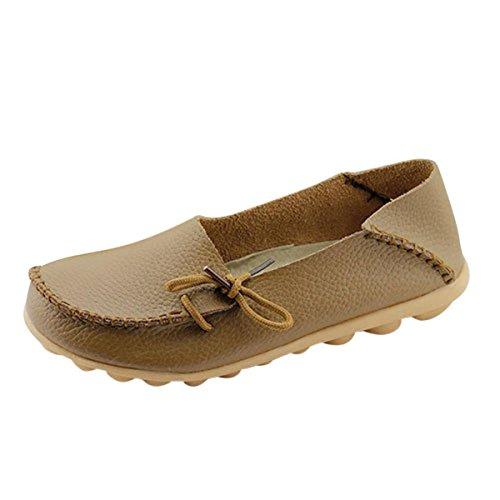 Oriskey Mocasines de cuero mujer Loafers Casual Zapatos Zapatillas Khaki