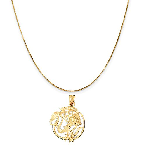 14k Yellow Gold Tropical Fish and Coral Pendant on a 14K Yellow Gold Curb Chain Necklace, 16'' by Eaton Creek Collection