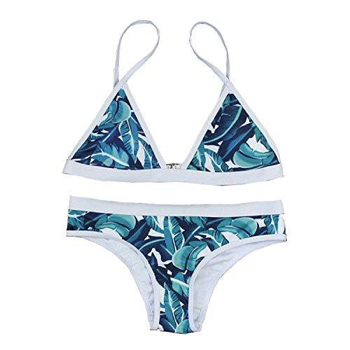 BA Womens Triangl Bikini Set Swimwear Low Rise Swimsuit Beachwear (L, Green)