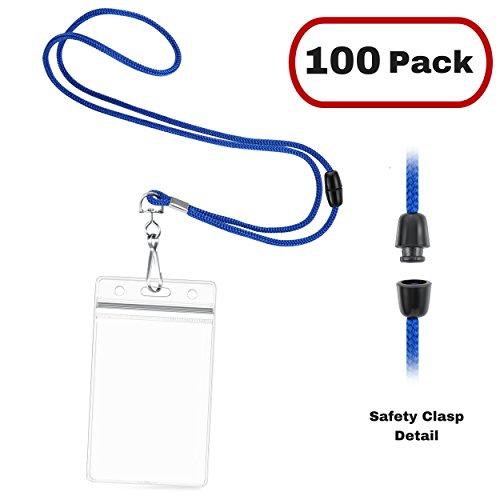- MIFFLIN Breakaway Lanyards and Vertical ID Holder, Safety Lanyard + Plastic Card Holder (Royal Blue, 100 PK)