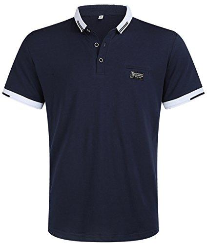 Musen Men Short Sleeve Polo Shirt Cotton Regular Fit T-Shirts Navy Blue M