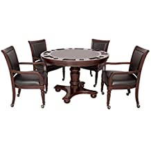 Hathaway Bridgeport 2-in-1 Poker Game Table Set, Walnut Finish