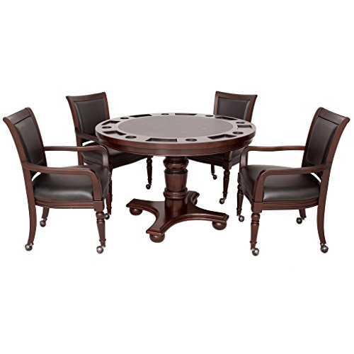 Hathaway Bridgeport 2-in-1 Poker Table Set with Four Arm Chairs - Walnut Finish (Chairs And Poker Table)
