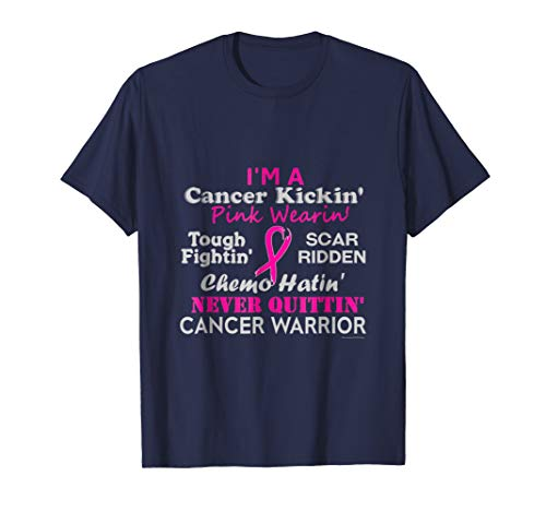 - Mens Breast Cancer T-Shirt Cancer Kickin' Chemo Hatin' Warrior XL Navy