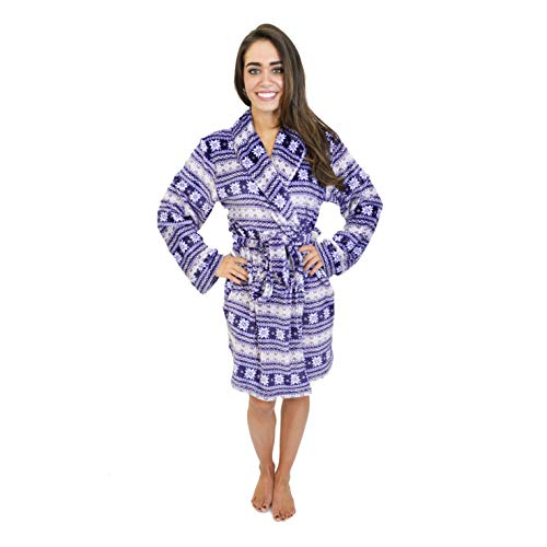 (Cherokee Women's Lux Plush Robe, Purple fair Isle Extra)