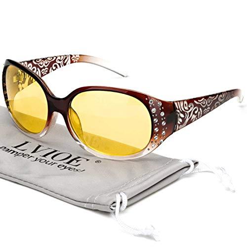 LVIOE Night Vision Driving Glasses Wrap Around Anti Glare with