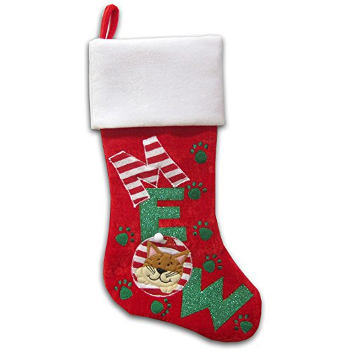Cat Christmas Stocking - 20 inch - for your very special kitty cat - MEOW! (Stocking Cat Christmas)
