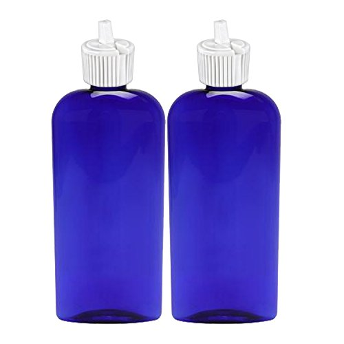 MoYo Natural Labs 8 oz Container PET Bottle Turret Style Closure Top Toggle Adjustable Dispenser Refillable Lotion Container Empty Bottle Blue 8 OZ Pack of 2 from MoYo Natural Labs