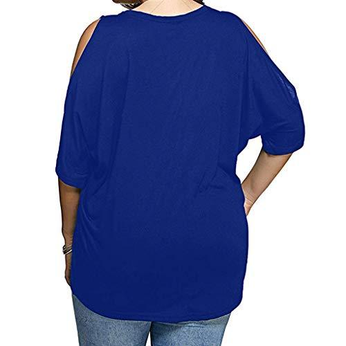 Damen Freizeit Schulterfrei Langarm T-Shirt Übergröße Oberteil Gestreift Blusen