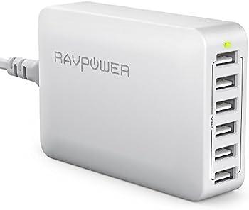 RAVPower 60W 12A 6-Port USB Charger Desktop Charging Station