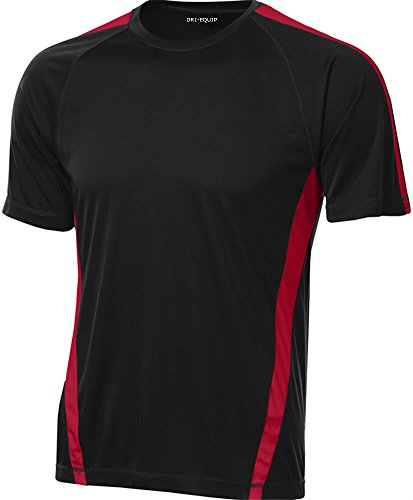 Moisture Wicking Black T-shirt - Joe's USA Men's Short Sleeve Moisture Wicking Athletic T-Shirt-Black/Red-XL