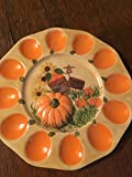 USA handmade fall, harvest or Thanksgiving deviled egg ceramic platter