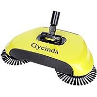 Gycinda Floor Sweeper Adjustable Handle Lightweight Sweep-up Swivel Sweeper Broom(Yellow)