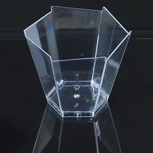 BalsaCircle 72 pcs 3 oz Clear Plastic Hexagon Cups - Disposable Wedding Party Catering - Glasses Hexagon Clear