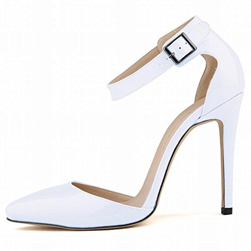 Damen High-Heeled Shoes Mit Fine-Pointed Paint Rock Nightclub Flache Farbe White