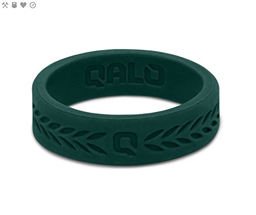 Qalo Women's Laurel Silicone Ring, Jade Green, Size 6