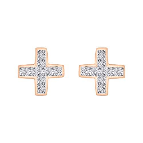(KATARINA Invisible Set Princess Cut Diamond Cross Stud Earrings in 14K Rose Gold (1 cttw, H-I, I2-I3) )