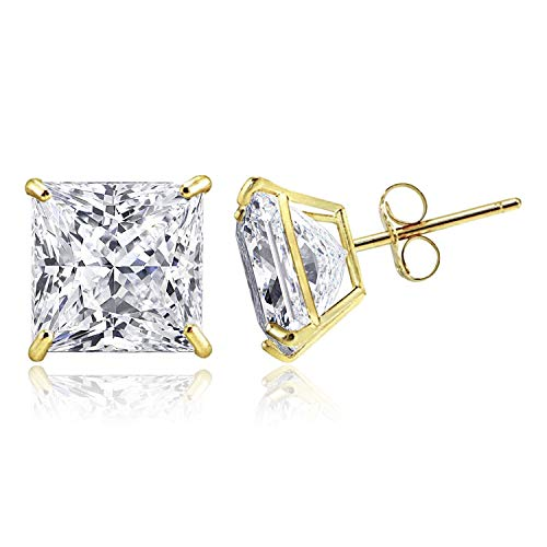 14K Solid Yellow Gold Minimalist Princess-Cut Solitaire Cubic Zirconia Stud Post Earrings, 6 MM (1.24 CTW)