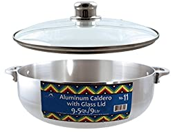 Euro-Ware Stove Top Heavy Gauge Aluminum Caldero with Removable Glass Lid and Built in Steam Vent, 9.5 quart, Silver