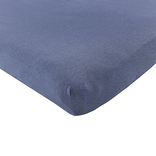 Hudson Baby Cotton Fitted Crib Sheet, Heather Navy, One Size