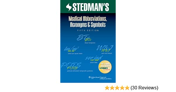 Stedmans Medical Abbreviations Acronyms Symbols Stedmans