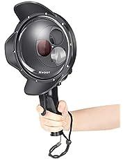 SHOOT Mise à Niveau 3.0 Version 6 '' Pouces Plongée Sous-marine de Poche Stabilisateur Lens Hood Dome Port Dome Lens per Gopro Hero 3+/4 Argento Nero Caméra Photographie Sous-marine