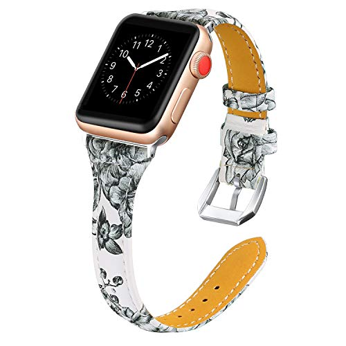 Secbolt Leather Bands Compatible Apple Watch Band 38mm 40mm Stainless Steel Buckle Replacement Slim Wristband Sport Strap for Iwatch Series 5 4 3 2 1, Floral E