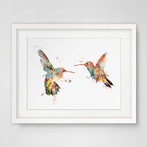 Couples Birds Wall Hanging Gift for Her for Him Valentines Hummingbird Poster Wall Art Painting Print Landscape 8x10inch No -