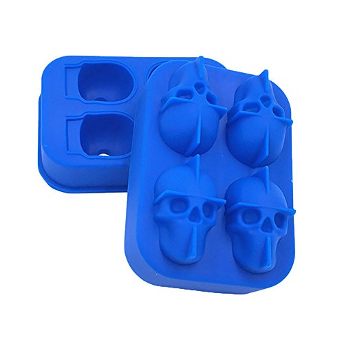 Ice Cube Mold Trays by JunHenglr, 3D Halloween Skull Head Silicone Chocolate Candy Ice Cube Mold Party Supplies - Sapphire Blue -