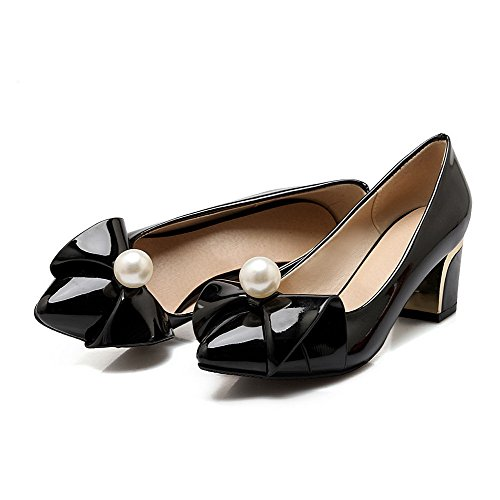 VogueZone009 Women's PU Kitten-Heels Pull-on Solid Pumps-Shoes Black X6sKJtd