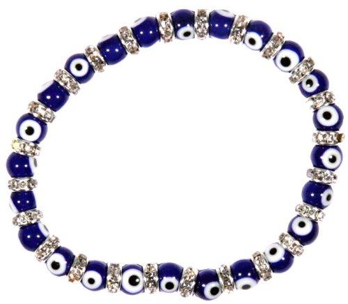 Flex Bracelet with Evil Eyes - Blue - (Murano Glass & Zirconium Crystals) Crystal Flex Bracelet