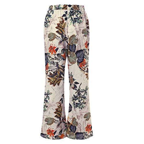 Size Casual Floral Flared Pants Vintage Baggy Yoga Long Trousers (2XL, Yellow) ()