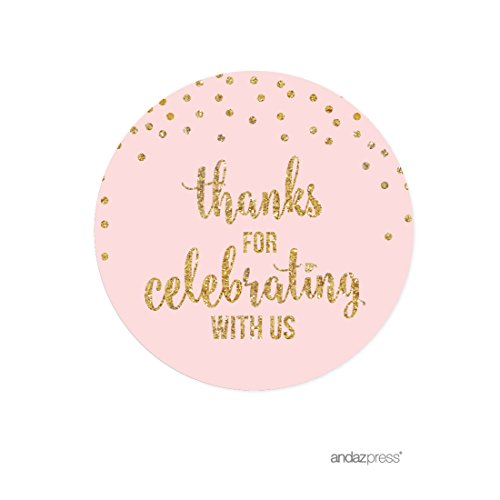 Andaz Press Blush Pink Gold Glitter Girl's 1st Birthday Party Collection, Round Circle Label Stickers, Thank You for Celebrating With Us, 40-Pack