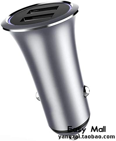 Metal Dual USB Car Charger LED Light For S10 Xiaomi, Dark grey