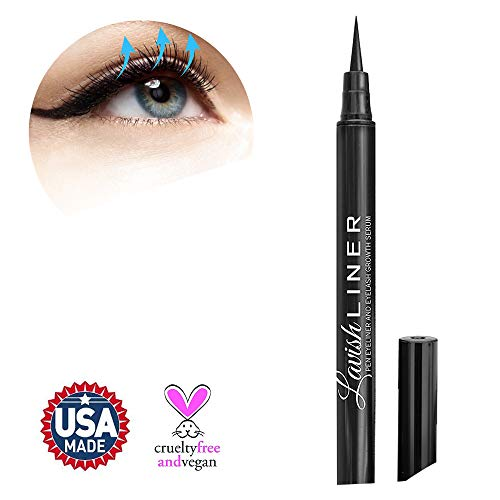 Lavish Liner by Hairgenics Pronexa - 2-in-1 Precision Liquid Eyeliner Pen with Eyelash Growth Enhancing Serum and Castor Oil for Perfect Eyes and Long Lashes, Jet Black.